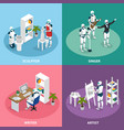 creative robots isometric concept vector image vector image