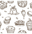 dessert cakes sketch pattern background vector image vector image