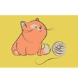 Fat red cat with ball of yarn