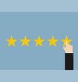five stars with hand stylish vector image
