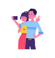 flat happy couple selfie in phone screen vector image vector image