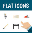 flat icon dacha set of hacksaw barbecue pump and vector image vector image