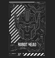 futuristic poster with a robot head template for vector image