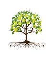 green trees with some leaves icon vector image