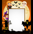 halloween sign with dracula and mummy and witch an vector image vector image