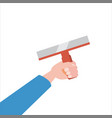 hand holds putty knife tool vector image vector image