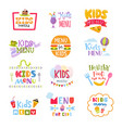 kids menu lettering template for child s vector image vector image