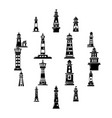 lighthouse icons set simple style vector image