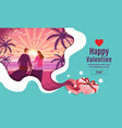 lovely couple valentines day festival sun rise vector image vector image