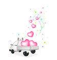 Lovely Hearts Dropped on A Pickup Truck vector image