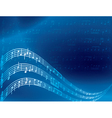 music notes - blue abstract background vector image vector image