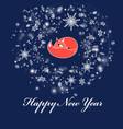 new year bright greeting card with a red fox vector image vector image