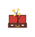 open suitcase with money tree vector image vector image