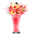 pink berry juice splash whole and sliced vector image
