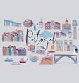 portugal set portuguese elements vector image