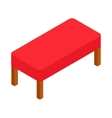 Red bench icon isometric 3d style vector image