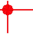 red ribbon with christmas round gift bow icon vector image