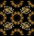 seamless golden pattern black colors with golden vector image