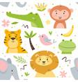 seamless pattern cute animals kids cartoon vector image