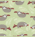 seamless pattern with cute jungle sloths on green vector image