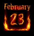 twenty-third february in calendar of fire icon on vector image vector image
