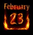 Twenty-third february in calendar of fire icon on