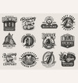 vintage brewery monochrome emblems vector image