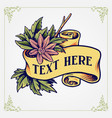 vintage ribbon with flowers engraving style vector image