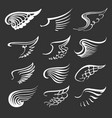 white doodle wings set vector image