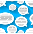 White speech bubbles with text on blue background vector image vector image