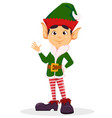 elf waving hand making hello sign vector image