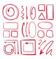 marker underlines and different doodle frames vector image