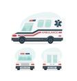Set of cartoon ambulance car Isolated objects on vector image