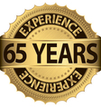 65 years of experience golden label vector image