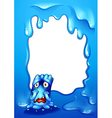 A blue border design with a sad monster vector image vector image
