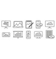 analysis statistics line icons chart report vector image vector image
