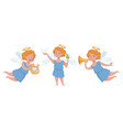 angel with trumpet and harp boy cupid character vector image vector image