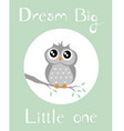 baby owl with babygreen background vector image vector image