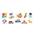 baby toys cartoon kid submarine car spaceship vector image