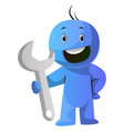 blue cartoon caracter holding a big tool on white vector image vector image