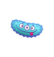 blue cartoon virus with eyes isolated micro germ vector image vector image