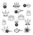 Bowling signs icons vector image