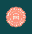 burger logo retro styled fast food emblem badge vector image