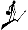 Businessman rises up through the arrow vector image