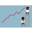 Businessman standing at the top of a ladder vector image vector image