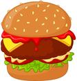 Cartoon burger delicious vector image vector image