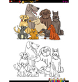 cartoon dogs coloring book vector image vector image
