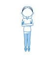cartoon girl long hair standing with arms folded vector image