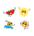 cartoon summer fruit characters icon set vector image