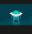 cartoon ufo cow abduction vector image vector image